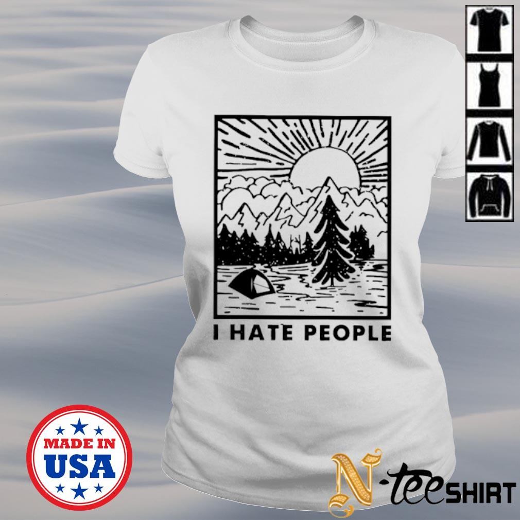 I hate people love camping s ladies-tee