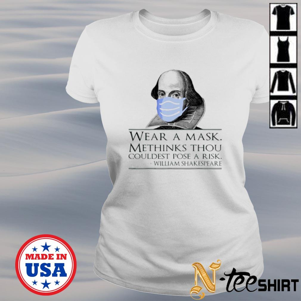 William Shakespeare wear a mask methinks thou couldest pose a risk s ladies-tee