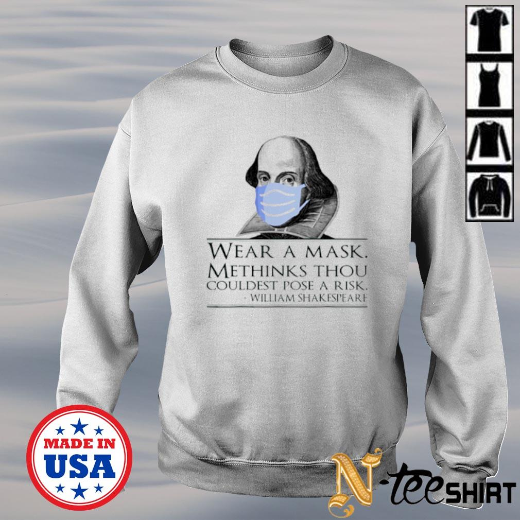 William Shakespeare wear a mask methinks thou couldest pose a risk s sweater