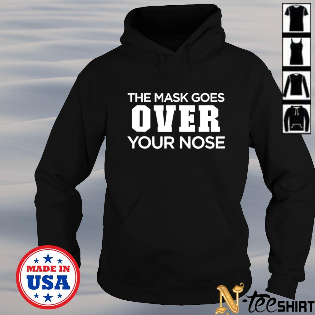 The mask goes over your nose hoodie