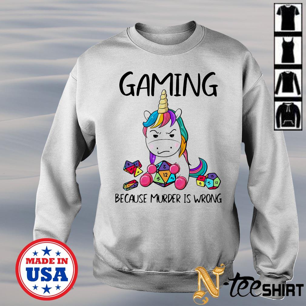 Unicorn gaming because murder is wrong sweater