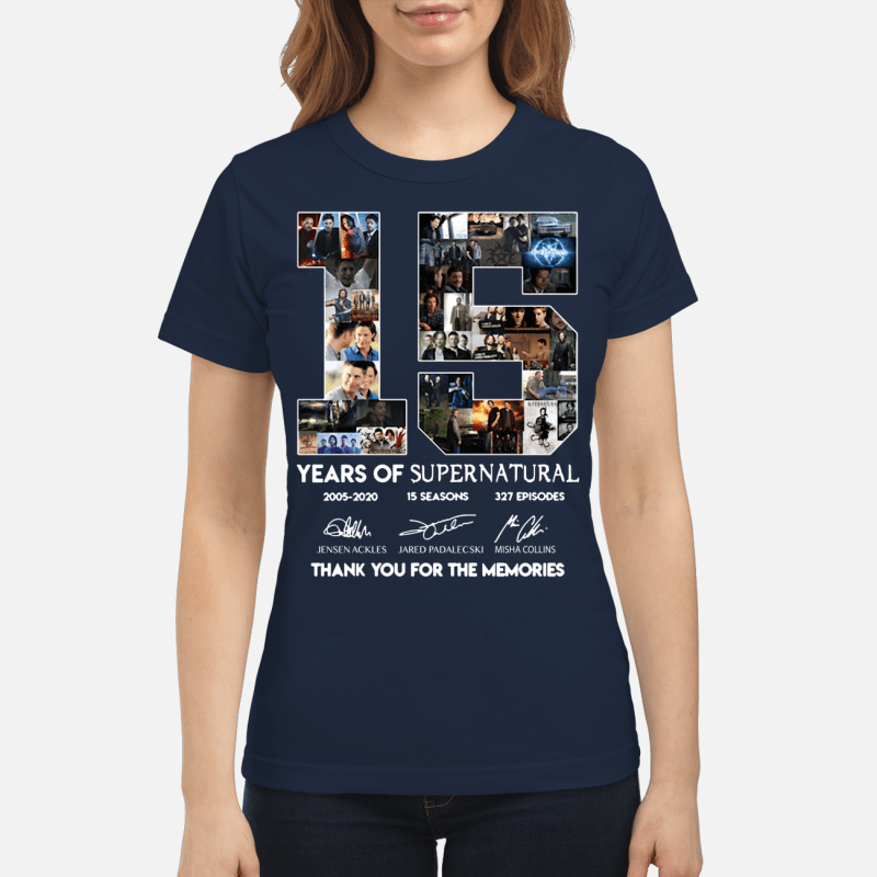 15 years of Supernatural 2005 2020 15 seasons 327 episodes thank you for the memories Ladies Tee