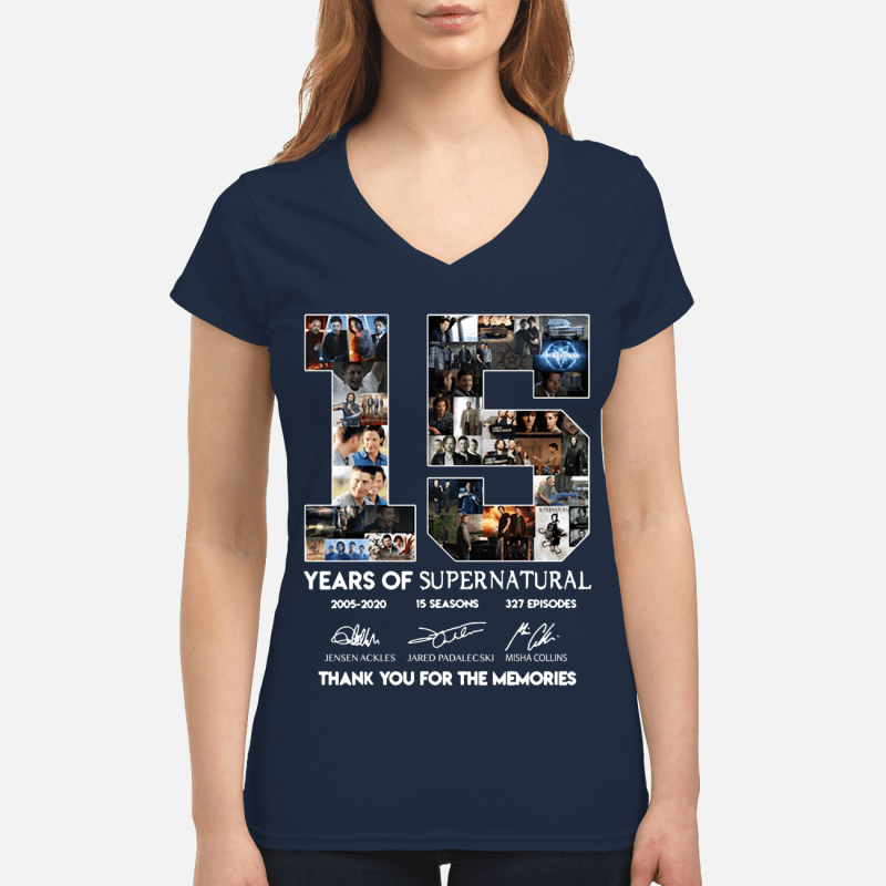 15 years of Supernatural 2005 2020 15 seasons 327 episodes thank you for the memories V-neck t-shirt