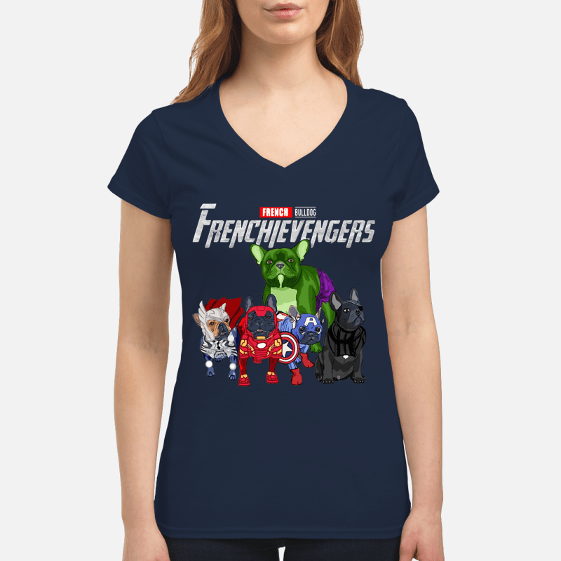 Frenchievengers French bulldog V-neck t-shirt