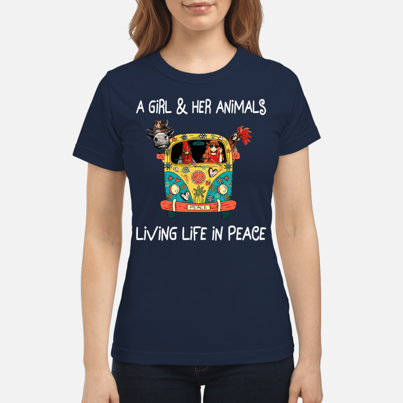 Hippie flower peace bus on a girl and her animals living life in peace Ladies Tee