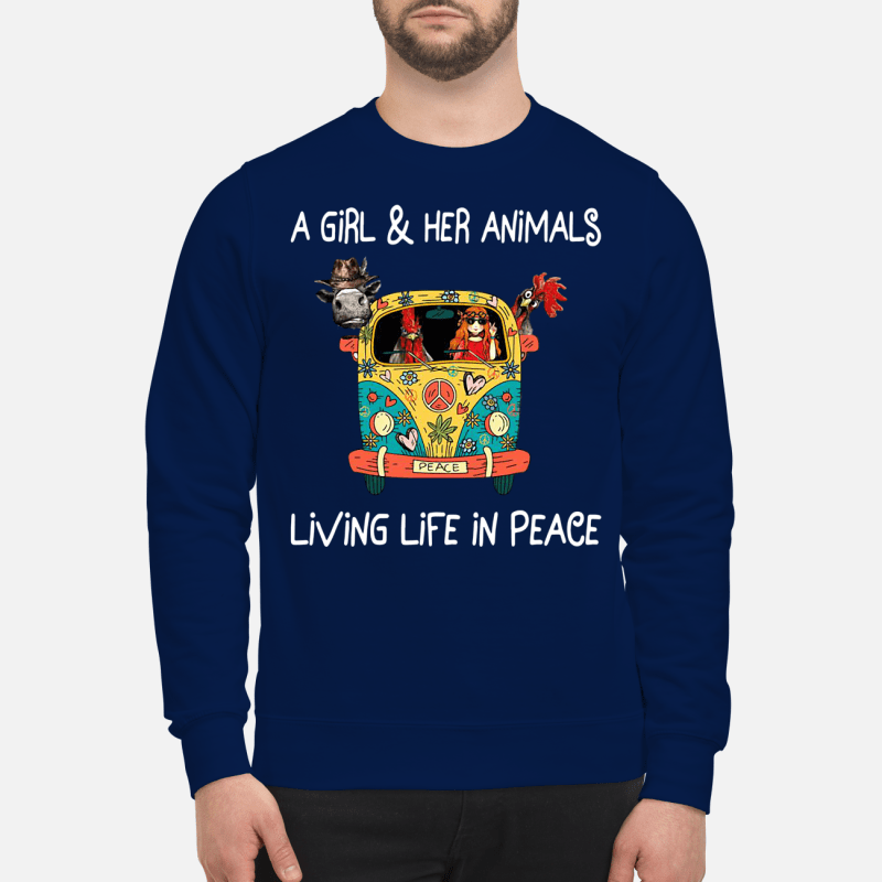 Hippie flower peace bus on a girl and her animals living life in peace Sweater
