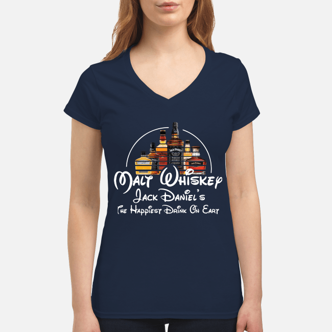 Malt Whiskey Jack Daniel's the happiest drink on earth V-neck t-shirt