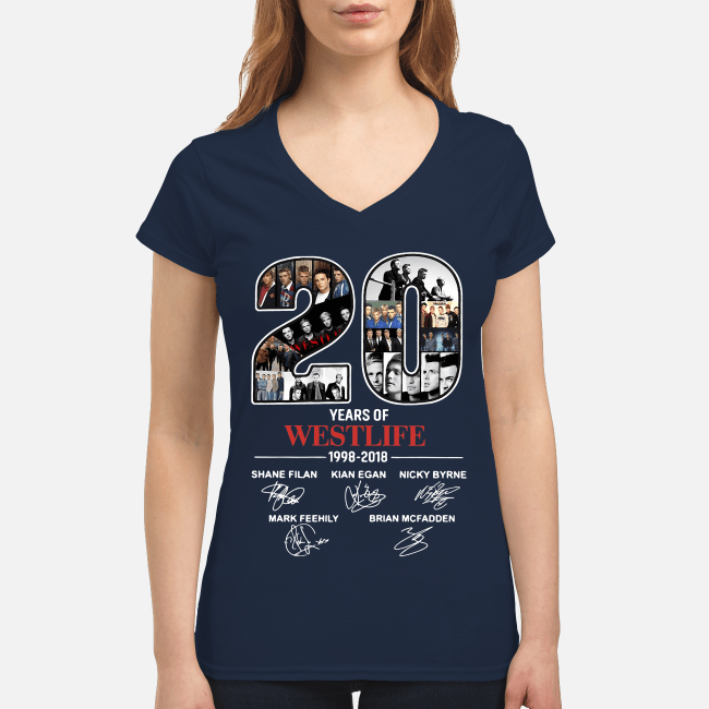 20 Years of Westlife 1998-2018 signatures V-neck t-shirt