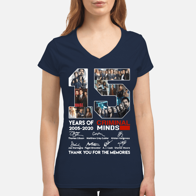 15 years of Criminal Minds 2005-2020 thank you for the memories V-neck t-shirt