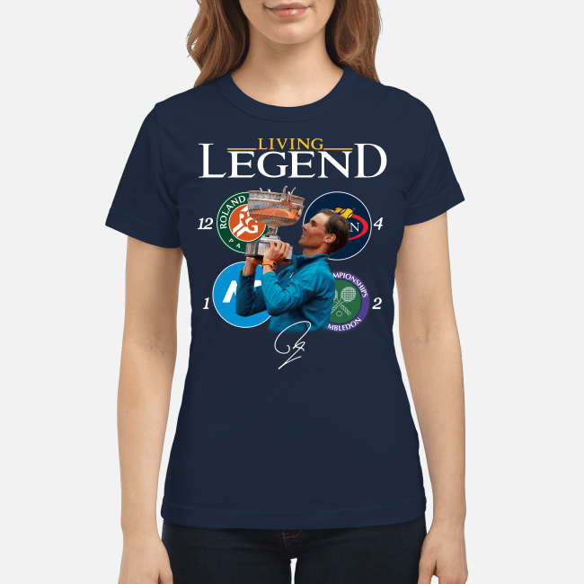 Official Rafael Nadal living legend 18 Grand Slam signature Ladies Tee
