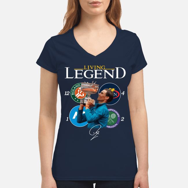 Official Rafael Nadal living legend 18 Grand Slam signature V-neck t-shirt