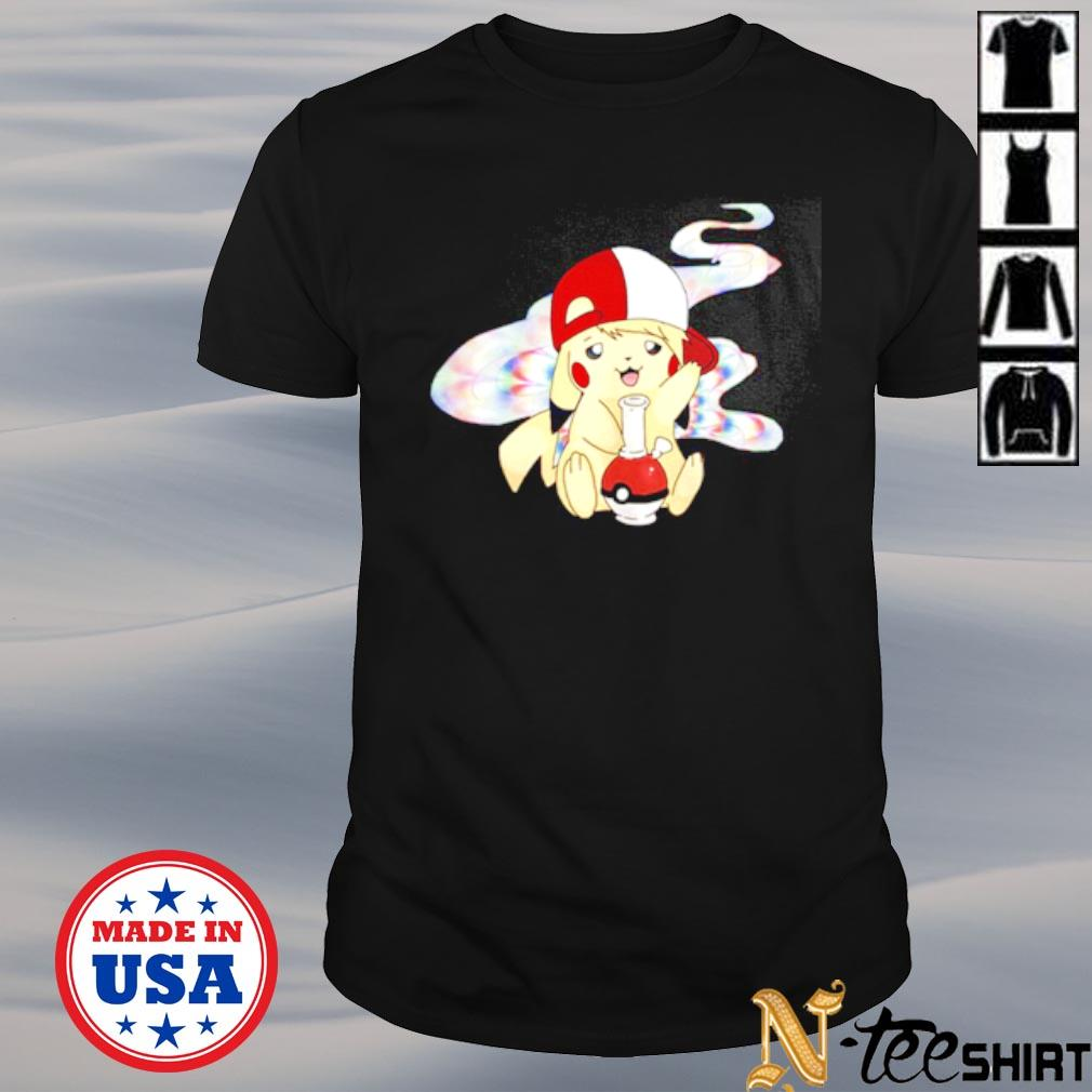 Pikachu pokemon smoking weed shirt