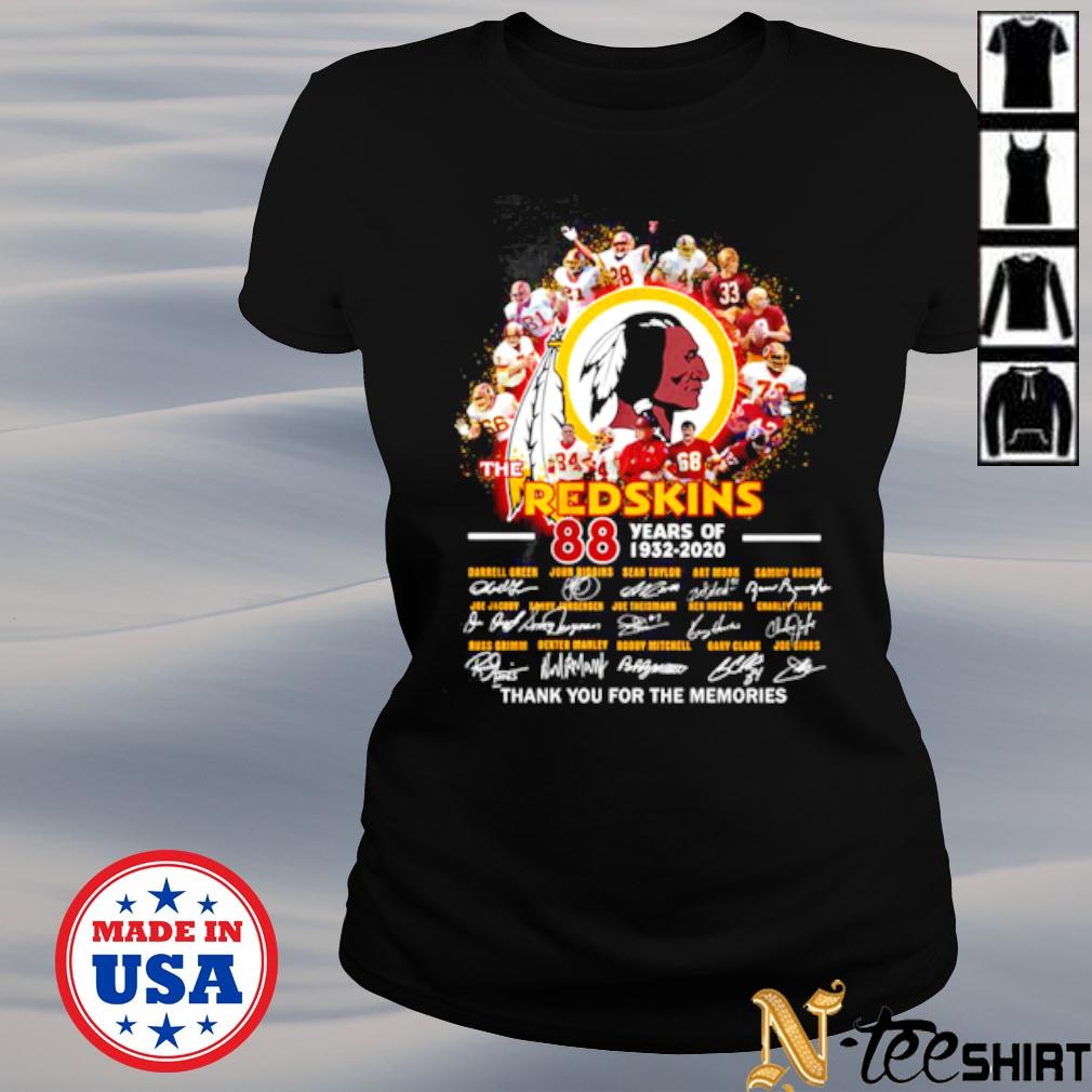The Redskins 88th years of 1932 2020 thank you for the memories signatures s ladies-tee