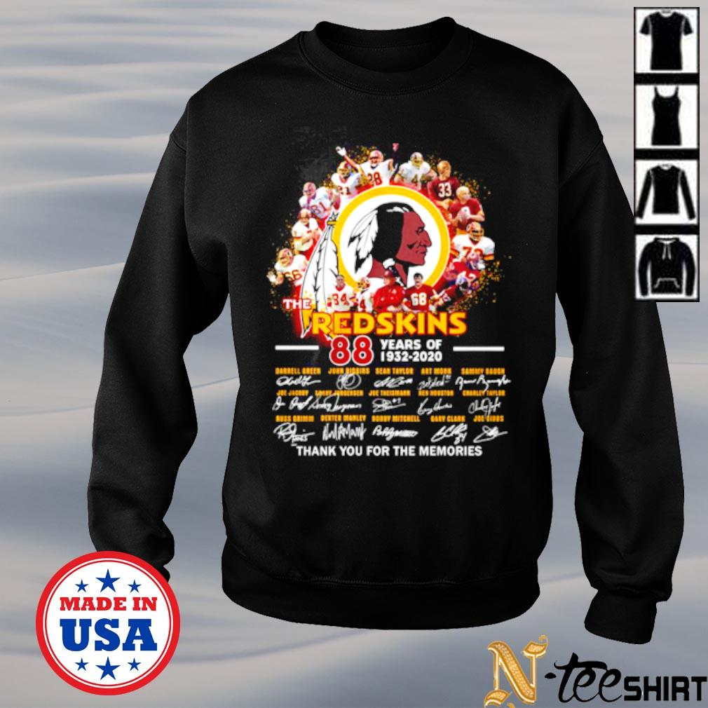 The Redskins 88th years of 1932 2020 thank you for the memories signatures s sweater