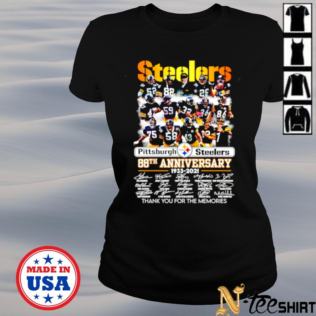 Pittsburgh Steelers 88th anniversary 1933 2021 signature thank you for the memories s ladies-tee