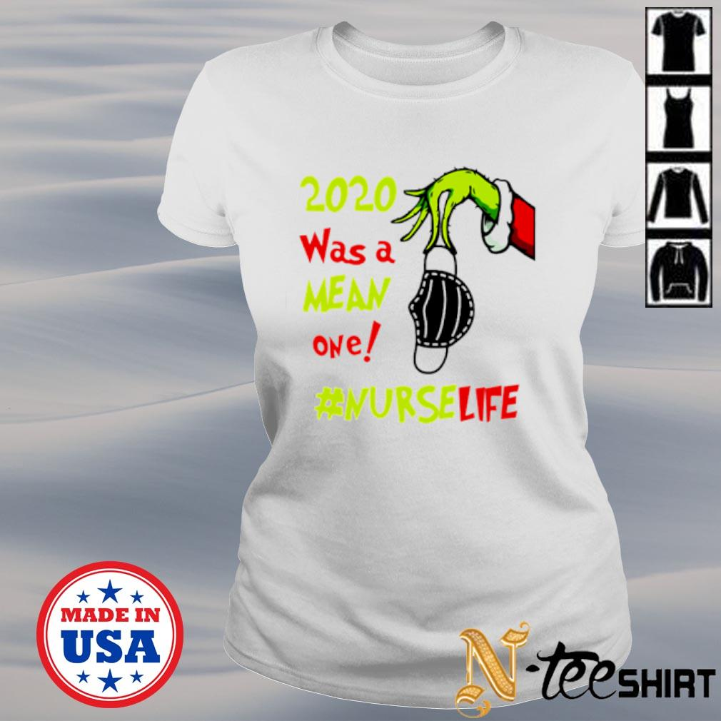 The Grinch hand holding face mask 2020 was a mean one Nurse life s ladies-tee